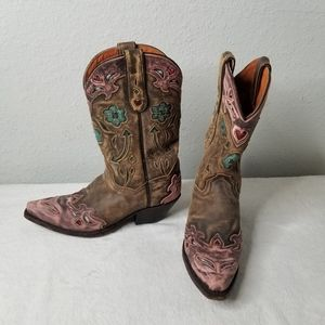 Dan Post Vintage Pink Arrow Floral Cowboy Boots 7
